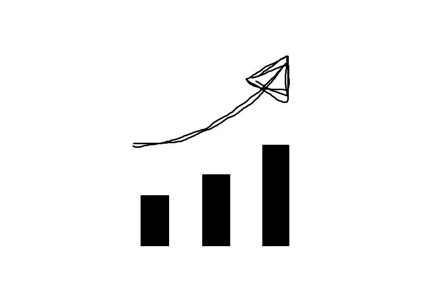 Symbolbild in Form eines Balkendiagramms: Drei Balken die von links nach rechts jeweils höher werden und ein Pfeil darüber der die nach oben zeigende Tendenz nachzeichnet.